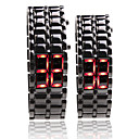 Black Metal Strip Digital Lava Style Iron Sport Couple Red LED Faceless Wrist Watch