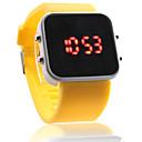 シリコンバンドの女性男性男女兼用のゼリーのスポーツスタイル正方形のミラー率いる腕時計 - 黄色