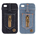 Jeans Cover Hard Case for iPhone 4 / 4S (Zippers)
