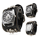 Unisex Punk Style Skull Pattern Black PU Band Quartz Wrist Watch (Assorted Colors)