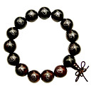 15mm Bead Red andalwood ilver Inlaid Bracelet