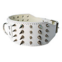 Adjustable 3-Row Punk Rivet Style Leather Dog Collar (Assorted Color,M-XL)