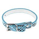 Adjustable Tartan Check Style PU Leather Collar for Dogs (Assorted Color)