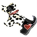 Cow Leather Spotted Horse Hair Style Puppy Dog Shape Squeaking Toys