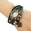 kvinnors fjäril hänge läder band kvarts analog armband klocka (blandade färger)