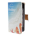 Sandy Beach Pattern PU Full Body Case with Card Slot and PC Back Cover insight for iPhone 4/4S