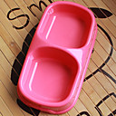 Plastic Pet Food Double Bowl for Dogs Cats (Assorted Colors, Sizes)
