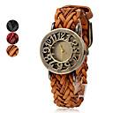 PU de femmes et de tissus Bande analogique montre-bracelet à quartz (couleurs assorties)