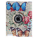 Butterfly on Roses Pattern 360 Degree Rotatable PU Leather Full Body Case with Stand for iPad 2/3/4