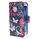 Blue Butterflies Pattern PU Leather Case with Stand and Card Slot for Samsung Galaxy S4 I9500
