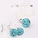 women's 10mm Ball Crystal Earrings Necklace Jewelry Set No.3
