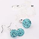 kvinnors 10mm bollen kristall örhängen halsband smycken set nr.3