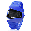 Unisex Jet Aircraft LED Digital Dial Silikon Band Wrist Watch (assorterte farger)
