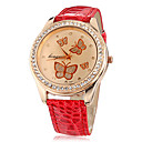 Buy Women's Butterfly Pattern Diamante Round Dial PU Band Quartz Analog Wrist Watch (Assorted Colors) Cool Watches Unique