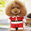 Lovely Christmas Santa Claus Costume Warm Suit with Hat for Pets Dogs (XS-XL,Red)