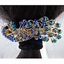 Fashion Beautiful Alloy Full Crystal Bule Peacock Hairpins for Women