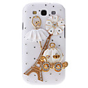 Rhinestone Tower and Pumpkin Carriage Pattern Hard Back Cover Case with Glue for Samsung Galaxy S3 I9300