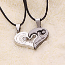 weet (Heart Pendant) Black Leather Pendant Necklace(2 Pc)
