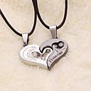 weet (colgante de corazón) colgante de collar de cuero negro (2 piezas)