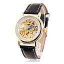 Men's Manual Mechanical Gold Skeleton Black PU Band Wrist Watch