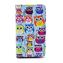 Colorful Owls Pattern PU Leather Full Body Case with Card Slot Stand for Nokia Lumia N520