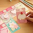 bloem taart hart patroon zelfklevende note (willekeurige kleur)