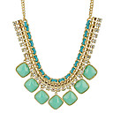 New jewelry Exaggerated Gold Chain Candy Color Resin Ribbon Bib Statement Chunky Necklaces