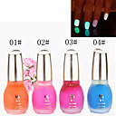 1PCS Laushine Luminous Noctilucent Fluorescent Nail Polish Glow in Dark Eco-Friendly(No.1-4,Assorted Colors))