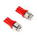 100X Ice Red T10 5-SMD 5050 194 168 1.3W Auto LED indicatielampjes Interieur Bollen