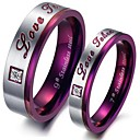 Purple Classic Fashion Titanium Steel Set Auger Lovers Ring