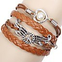 Vintage Peace 20cm Women's Coffee Leather Wrap Bracelet(Coffee)(1 Pc)