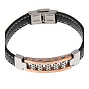 Men's  Fashion PU Leather Stainless Steel Black Clasp Bracelet