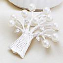 Silver Plated Pearl Tree Brooch