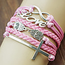 Fashion Leather LOVE Cross Shape Wrap Bracelets(1 Pc)