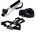 Gopro Accessories Chest Strap + Head Strap+ Handle Monopod + Tripod Adapter For GoPro Hero 1 2 3 3+Camera