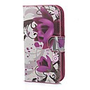 Big Purple Flower Pattern PU Leather Case with Magnetic Snap and Card Slot for Motorola Moto E