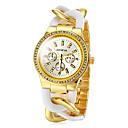 Montre bande tordu bracelet à quartz de bande en acier or en plastique de la mode des femmes (couleurs assorties)