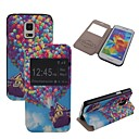 Elonbo Balloon House Mat Lines PU leather Flip Stand Full Body Case with Window for Samsung Galaxy S5 Mini