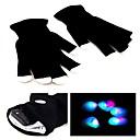 7 Mode LED Flashing Black Gloves Rave Color Change Finger Light