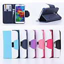 Leather Wallet Case Flip Leather Stand Cover with Card Holder for Samsung S5 I9600