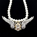 Fashion Style Rhinestone Crown With Angle Wings Fake Pearl 2014 Trendy Necklace