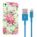 Chinese Rose Design Hard Plastic Case with 100cm 8-Pin to USB Charging Data Blue Cable for iPhone 5/5S