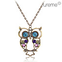 Antique Copper Alloy Zircon Owl Necklace Wzór