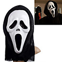 White Ghost Mask with Head Cover Scream Practical Joke Scary Cosplay Gadgets for Halloween Costume Party