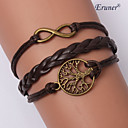Eruner®Multilayer Tree&Eight Alloy Charms Handmade Leather Bracelets