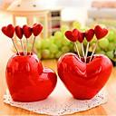 sydämen muotoinen ruostumaton teräs hedelmä haarukat, ruostumaton teräs 7,5 × 7,5 × 6,5 cm (3,0 × 3,0 × 2,6 tuumaa) random tyyppi
