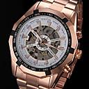 forsining® línea hueco mecánico automático de los hombres aumentó reloj de pulsera banda de acero de oro (colores surtidos)