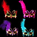 Colored Painted Bowknot Shaped Feather Princess Half Face Mask for Halloween Party(Random Color)