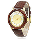 Women's Wood Case Elegant Gold Dial Brown Leather Band Quartz Wrist Watch