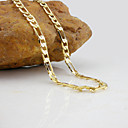 18K White Golden Plated Figaro Necklace 50CM/0.7CM Width